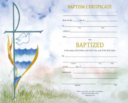 Baptism - Watercolor Baptism Certificate