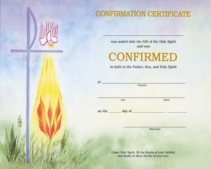 watercolor confirmation certificate