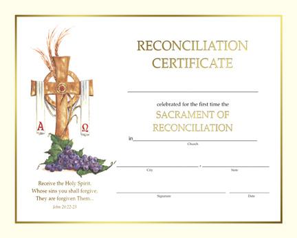 Reconciliation Spiritual Reconciliation Certificate