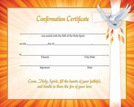 inspirational confirmation certificate
