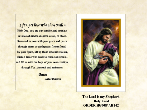 The Lord is our Shepherd Holy Card with Disaster Message