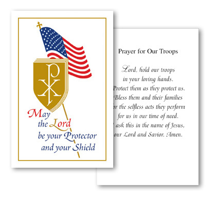 Shield Holy Card with Prayer for Our Troops